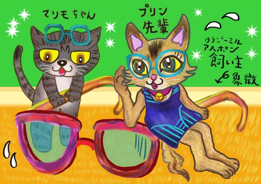 01-飼い主の眼鏡と猫のプリン先輩とマリモちゃん